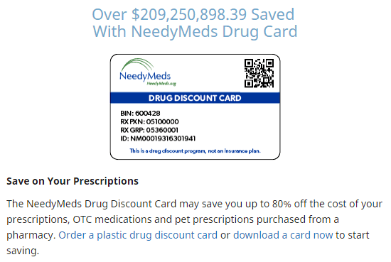 Needymeds drug discount card First 100 registrations around
